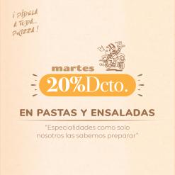 Martes -20% en pastas y ensaladas